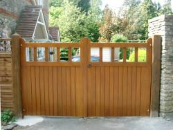 Wooden flat driveway gates - Dorset county gate
